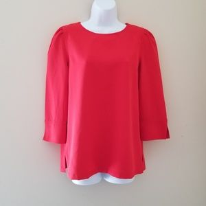 LOFT 3/4 Puff Sleeve Blouse Red Small
